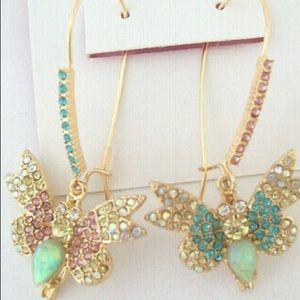 New Betsey Johnson  Pave Butterfly  Drop Earrings